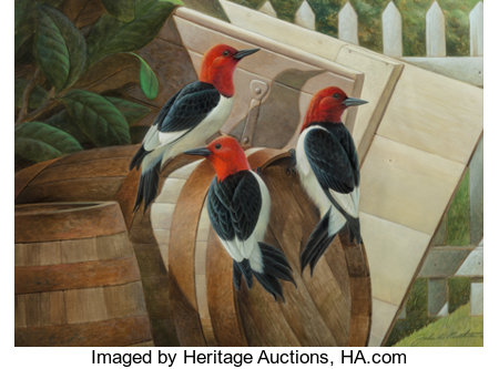 John A. Ruthven (American, b. 1924) Redheaded Woodpeckers Watercolor and gouache on paper 11-1/2 x 15-1/2 inches (29....