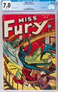 Golden Age (1938-1955):Superhero, Miss Fury #1 (Timely, 1942) CGC FN/VF 7.0 Off-white pages....
