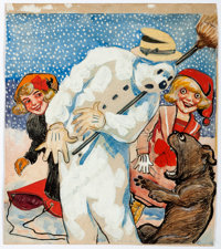 Richard F. Outcault Buster Brown Winter Illustration Original Art (c. 1910s)