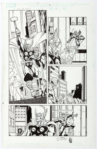 Ron Lim and Scott Koblish Spider-Man Team-Up #4 Story Page 6 Original Art Thor (Marvel Comics, 2005)