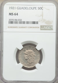 Guadeloupe: French Colony 50 Centimes 1921 MS64 NGC