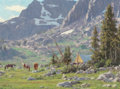 Paintings, Tucker Smith (American, b. 1940). Camp at Lozier Lake, 1995. Oil on canvas. 6 x 12 inches (15.2 x 30.5 cm). Signed and d...