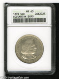 "1893 50C Columbian MS63 ANACS. The current Coin Dealer Newsletter (Greysheet) wholesale ""bid"" price is $60.00..."