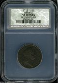 1723 1/2P Hibernia Halfpenny VF Details, Reverse Scratched, NCS. Breen-157. No pellet before H, Small 3 in date. A trio...