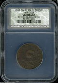 1787 COPPER New Jersey Copper, Small Planchet, Plain Shield VG Details, Corroded, Scratched, NCS. Maris 38-c, R.4. Attri...