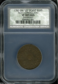 1783 COPPER Nova Constellatio Copper, Pointed Rays, Small US VF Details, Damaged, NCS. Crosby 2-B, R.2. A well centered...