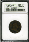 1794 1/2 C --Corroded--ANACS. VG Details, Net Good 4. B-2b, C-2a, High R.2. The legends are bold aside from those on the...