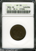 1804 1/2 C Crosslet 4, Stems VF30 ANACS. B-9, C-10, R.1. This golden-brown early Half Cent is relatively sharp but has s...