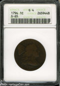 1794 1C Head of 1794 Good 4 ANACS. S-65, R.1. ONE CENT is legible on this worn and slightly porous example. Minor rim br...