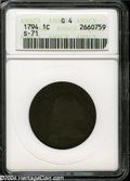 1794 1C Head of 1795 Good 4 ANACS. S-71, R.2. A dark brown and faintly granular example with a bold date and LIBERTY, an...