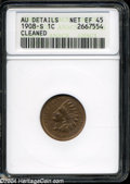 1908-S 1C --Cleaned--ANACS. AU Details, Net XF45. This key date Indian cent possesses golden-brown patina, and light to...