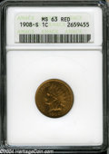 1908-S 1C MS63 Red ANACS. A crisply struck, well preserved, and lustrous orange-gold representative of this scarce low m...