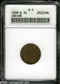 1909-S 1C Good 4 ANACS. LIBERTY is worn smooth, but all other legends are clear on this wood-grain key date Indian Cent...