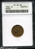 1900 1C PR62 Red and Brown ANACS. Bright multicolored toning visits the obverse, while the reverse is mostly gold and cr...