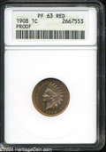 1908 1C PR63 Red ANACS. Bright coppery-gold patina with crimson accents, and no mentionable contact marks. This piece ge...