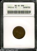 1912-D 1C MS64 Brown ANACS. Well struck, save for minor weakness on E PL, with even tobacco-brown color on the obverse...
