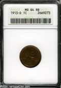 1913-D 1C MS64 Red and Brown ANACS. Dusky copper-gold color cedes to deeper hues on the portrait. boldly struck and unab...