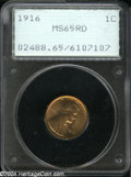 1916 1C MS65 Red PCGS. Well struck with frosty, highly lustrous surfaces that display a somewhat grainy, matte-like text...