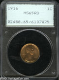 1916 1C MS65 Red PCGS. Well struck with vibrantly lustrous tan-gold and peach-colored surfaces, that have a couple of ti...