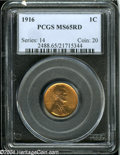 1916 1C MS65 Red PCGS. The motifs take on a pinkish cast, while the fields are mostly coppery-orange. A few tiny, unobtr...