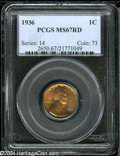 1936 1C MS67 Red PCGS. Brick orange color glows from a nicely struck specimen of this date. No surface marks seem appare...