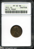 1911 1C PR62 Red and Brown ANACS. The matte surfaces portray reddish-brown patina with subtle golden undertones, and the...