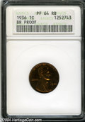 1936 1C Type Two--Brilliant Finish PR64 Red and Brown ANACS. Fully struck with deep coloration, a few small scratches on...