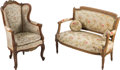 Furniture , A Louis XV-Style Fruitwood Children's Fauteuil d'Oreilles and a Louis XVI-Style Giltwood Children's Settee, 19th century. 22... (Total: 2 Items)