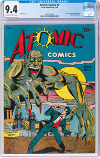 Atomic Comics #2 (Green Publishing Co., 1946) CGC NM 9.4 Off-white to white pages