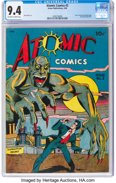 Atomic Comics #2 (Green Publishing Co., 1946) CGC NM 9.4 Off-white to white pages....