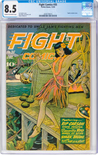 Fight Comics #35 (Fiction House, 1944) CGC VF+ 8.5 Cream to off-white pages