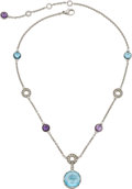 Estate Jewelry:Necklaces, Multi-Stone, Diamond, White Gold Necklace, Bvlgari . ...