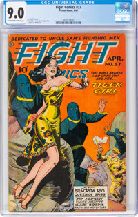 Fight Comics #37 (Fiction House, 1945) CGC VF/NM 9.0 Off-white to white pages