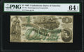 Confederate Notes:1862 Issues, CT45/342 $1 1862 Contemporary Counterfeit PMG Choice Uncirculated 64 EPQ.. ...