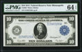 Fr. 939 $10 1914 Federal Reserve Note PMG Choice Uncirculated 64 EPQ