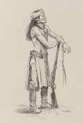 Works on Paper, Joe Beeler (American, 1931-2006). Apache Scout. Ink on paper. 11-1/2 x 8 inches (29.2 x 20.3 cm) (sight). Signed lower r...