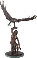 Sculpture, Stanley Quentin Johnson (American, 1939-2017). Eagle in Flight, 1981. Bronze with brown patina. 43-1/2 inches (110.5 cm)...