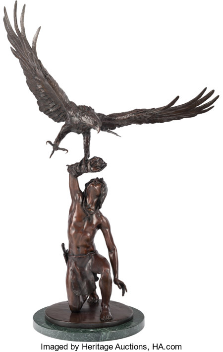 Stanley Quentin Johnson (American, 1939-2017) Eagle in Flight, 1981 Bronze with brown patina 43-1/2 inches (110.5 cm)...
