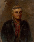 Paintings:Antique  (Pre 1900), Manner of Charles Bird King (American, 1785-1862). Chief Flying Cloud. Oil on canvas laid on board. 9-7/8 x 7-7/8 inches...