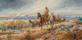 Paintings, Hank Lawshe (American, 1935-1993). Morgan's Trail, 1980. Oil on canvas. 15 x 30 inches (38.1 x 76.2 cm). Signed, dated, ...