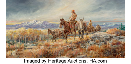 Hank Lawshe (American, 1935-1993) Morgan's Trail, 1980 Oil on canvas 15 x 30 inches (38.1 x 76.2 cm) Signed, dated, ...
