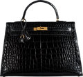 "Luxury Accessories:Bags, Hermès 35cm Black Caiman Crocodile Sellier Kelly Bag with Gold Hardware. Q Circle, 1987. Condition: 3. 14"" Width x..."