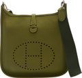 """Luxury Accessories:Bags, Hermès Vert Anis Togo Leather Evelyne III PM Bag with Palladium Hardware. K Square, 2007. Condition: 2. 11"""" Width ..."""