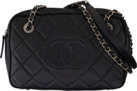 """Chanel Black Quilted Lambskin Leather Small Shoulder Bag Condition: 3 10"""" Width x 7"""" Height x 3'"""