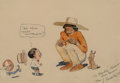 Works on Paper, James Swinnerton (American, 1875-1974). Canyon Kiddies cartoon. Ink and watercolor on paper. 4-5/8 x 6-1/2 inches (11.7 ...