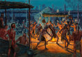 Fine Art - Painting, American, Mort Künstler (American, b. 1931). Green Corn Ceremony of the Creek, 1500s, 1976-77. Oil on canvas. 27-1/2 x 40 inches (...