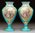 Ceramics & Porcelain:Antique  (Pre 1900), A Pair of Sèvres-Style Porcelain Vases, circa 1860. Marks: (interlaced L-P), (axe). Signed: P.. 14-7/8 x 7-1/4 inches (3... (Total: 2 Items)