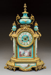 A Sèvres-Style Jeweled Porcelain and Gilt Bronze Mantel Clock, circa 1865 Marks to movement: P.B. 5622, 21, 8&...