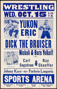 """Wresting Lot & Other Lot (1958). Very Fine-. Locally Produced Window Card & Pressbook Cover (14"""" X 22""""..."""