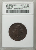 Large Cents, 1793 1C Wreath, Vine and Bars Edge, S-9, B-12, R.2 -- Corroded -- ANACS. VF Details, Net Fine 12....